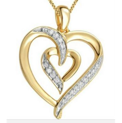 102: 14K Gold plated Diamond Heart Pendant Necklace
