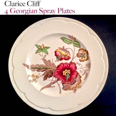 29: Clarice Cliff - 4 Georgian Spray Dinner Plates.