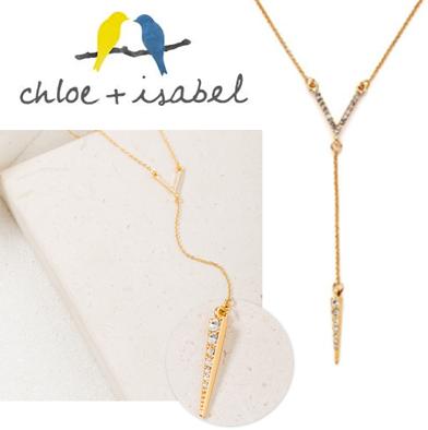 16: Chloe & Isabel Pendant - Pavé Chevron & Spike Y-Necklace