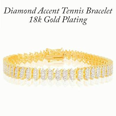 85: 18K Gold Plated Diamond Accent Tennis Bracelet