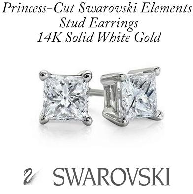 86: 14K White Gold Swarovski Stud Earrings