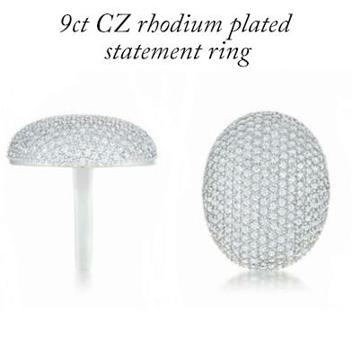 89: 9ct CZ Rhodium Plated Statement Ring