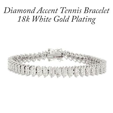 93: 18K White Gold Plated Diamond Bracelet