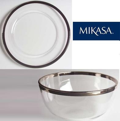 97: Mikasa Classic Platinum Bowl & Plate
