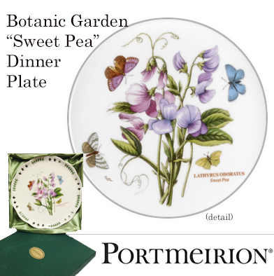 """2: Portmerion 10 inch Plate """"Sweet Pea"""" Design"""