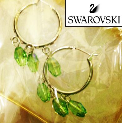 57: Green  Swarovski Hoop Earrings