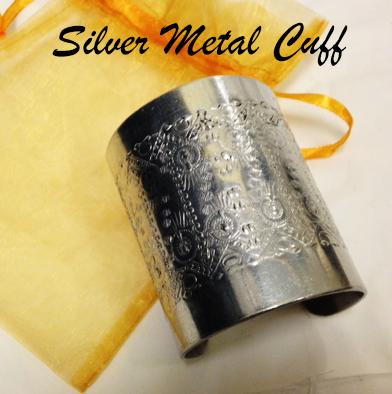 62: Silver Metal Cuff Bracelet