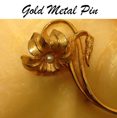 63: Vintage Gold Flower Pin