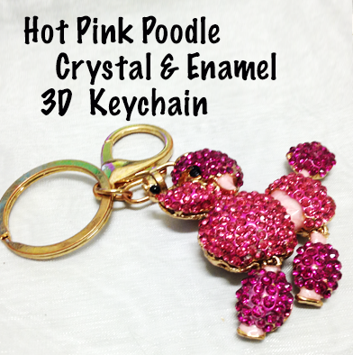 81: Hot Pink Poodle Keychain